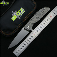 Green thorn Flipper 95 D2 steel blade T mode Titanium handle outdoor camping hunting pocket kitchen fruit folding knife EDC tool