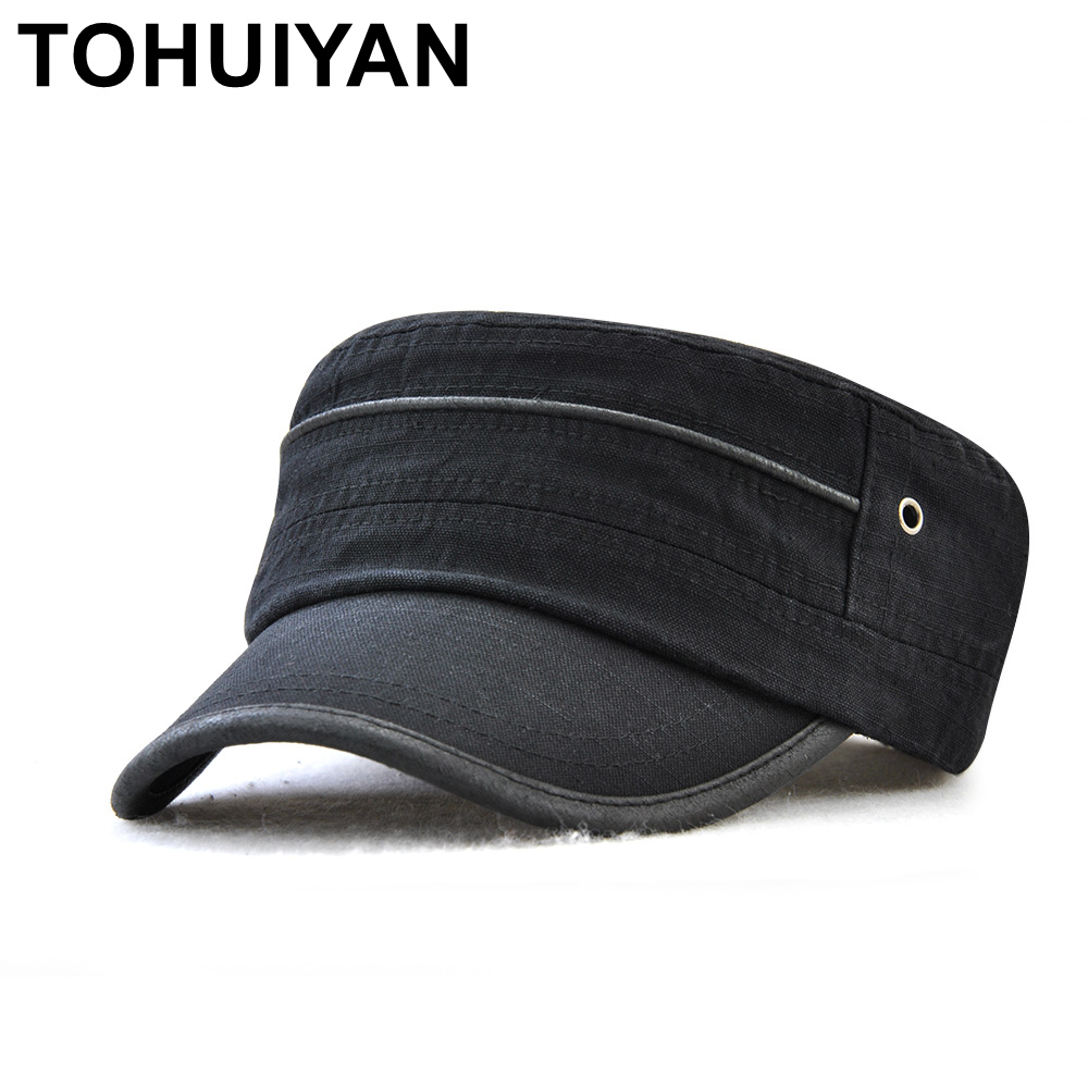 TOHUIYAN Classic Washed Cotton Cadet Army Cap Men Women Gorras Planas Sailor Patrol Fatigue Hat Summer Autumn Military Style Hat in Men 39 s Military Hats from Apparel Accessories