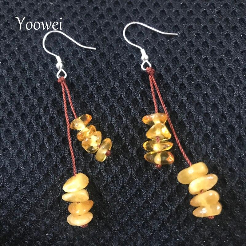 Yoowei Natural Amber Chips Earrings Baltic Genuine Irregular Beads Diy Designer Women Amber Jewelry Dangling Earrings Wholesale Clear And Distinctive Earrings
