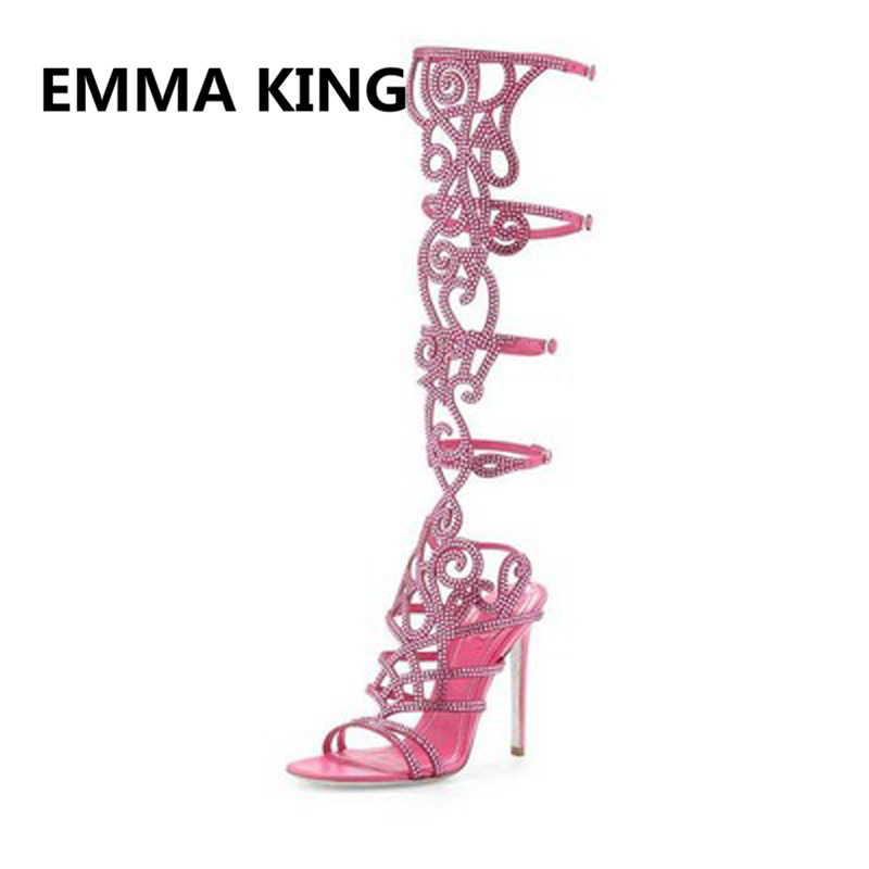Роскошный свинцовый хрусталь; женские летние сандалии гладиаторы до колена; пикантная женская модная обувь на высоком каблуке с открытым носком и вырезами; женские босоножки - 2