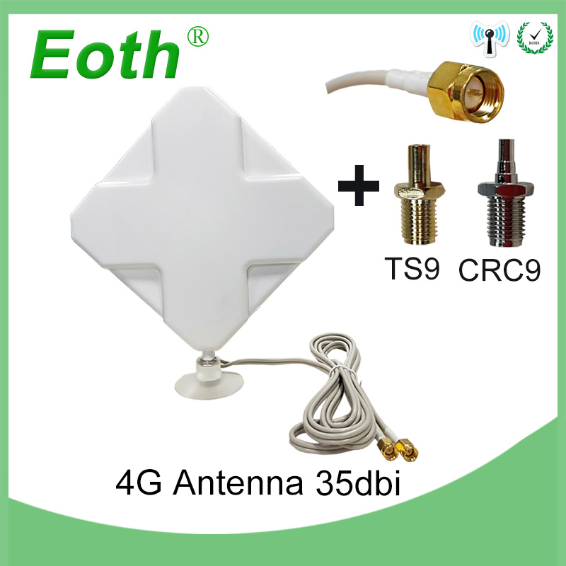 5pcs Eoth 4G Antenna SMA Male 2m 4G Antena 35dBi 2*SMA Connector Antenne For 4G Modem Router +SMA Female To CRC9 Male/ TS9 Male