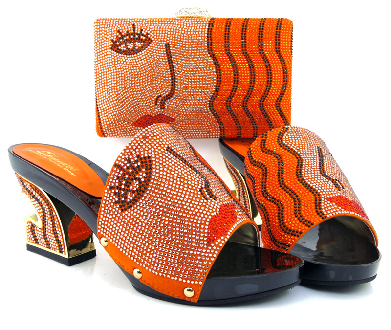 ФОТО New arrival italian shoes and bag set for woman in orange color .high quality wedding shoes and matching bag!HJX1-21