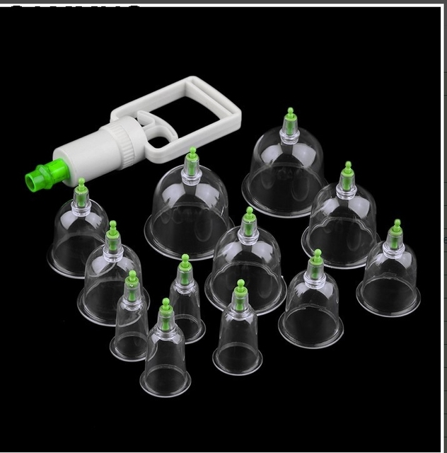 12pc Medical Cup Kit Chinese Health Care Vacuum Slimming Body Cupping Set Massage Therapy Relaxation Healthy Acupuncture