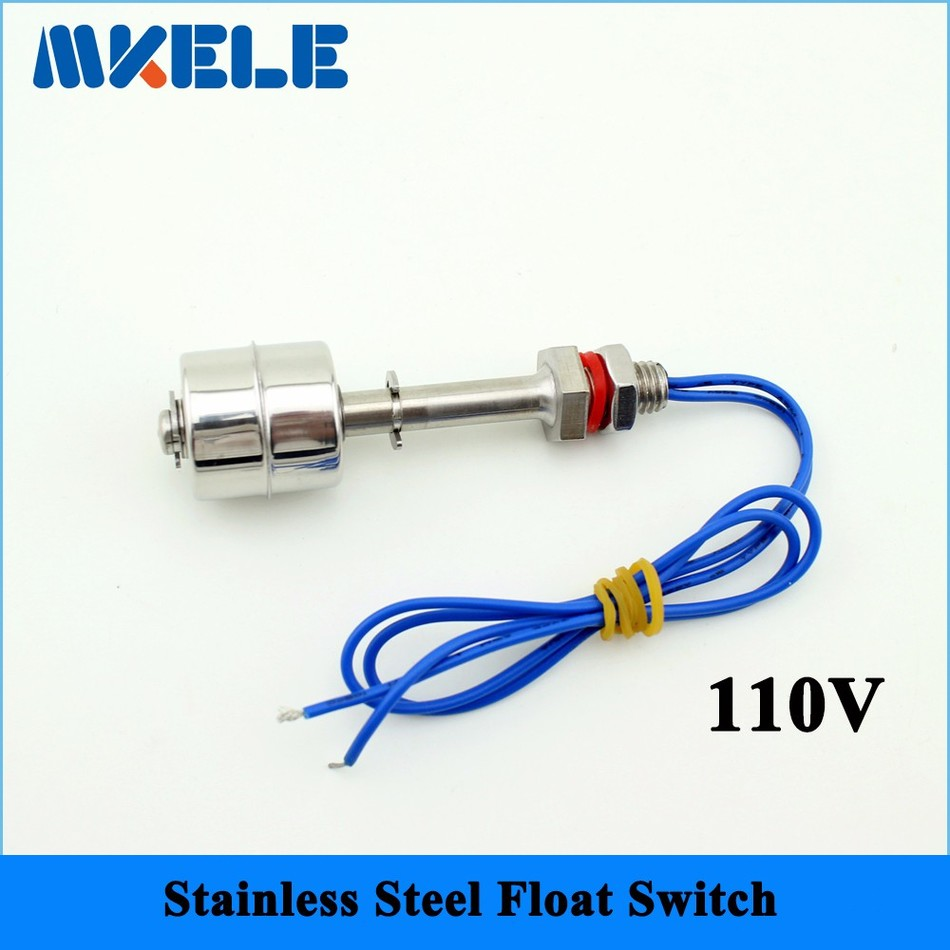 110V Stainless Steel Tank Liquid Water Level Sensor Horizontal Float Switch MK-SFS7510 m10 45mm 220v tank liquid water level sensor stainless steel float switch 2a1 normal close type wire line 30cm