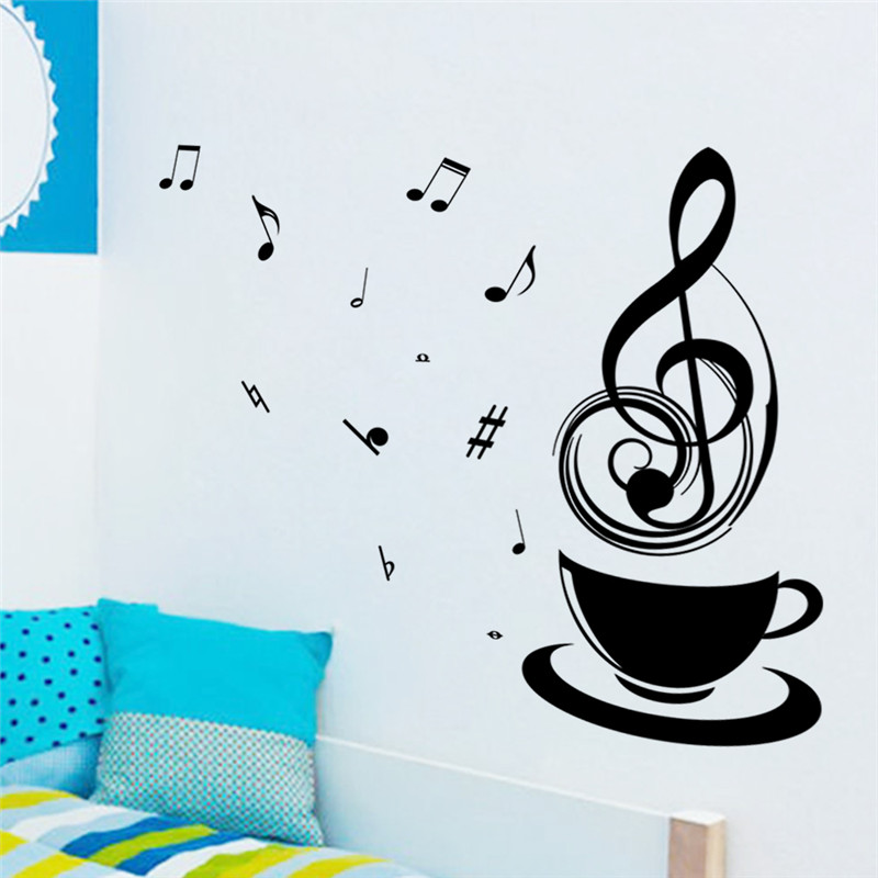 Coffee Cups Cafe Tea Music Note Wall Stickers Art Vinyl Decal Kitchen Restaurant Pub Hom ...