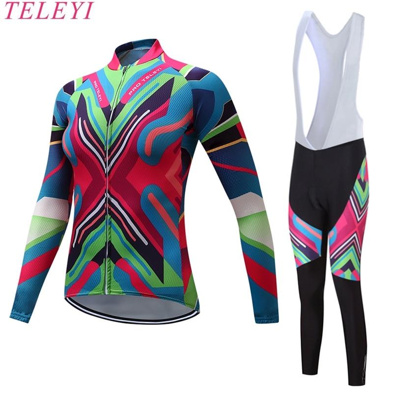 teleyi Long Sleeve Cycling Jerseys Sets Gel Padded Pro Bike Pants Breathable Anti-Sweat Bicycle Jerseys Cycling Clothing Sets