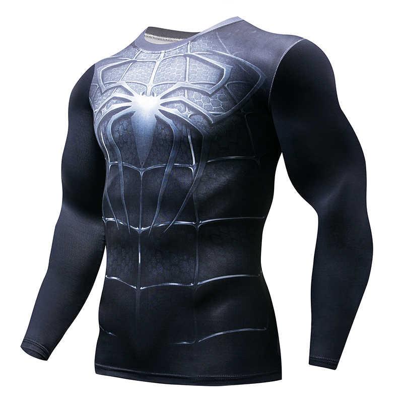 2019 סופר hero כושר MMA דחיסת חולצת גברים אנימה פיתוח גוף ארוך שרוול 3D T חולצה צמרות חולצות גבר קוספליי בגדים