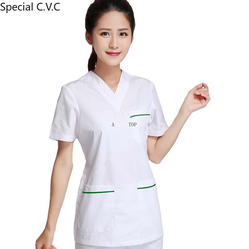 Women's Fashion Scrub Top White Nurse Scrub Uniform Color Blocking Surgery Scrubs (justa A Top)