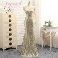 Dressgirl Champagne Vestidos de Noche 2017 de La Sirena de Lentejuelas de Un Solo hombro de Encaje con Espalda Abierta Largo Vestido de Baile Vestido de Noche Vestido de Fiesta