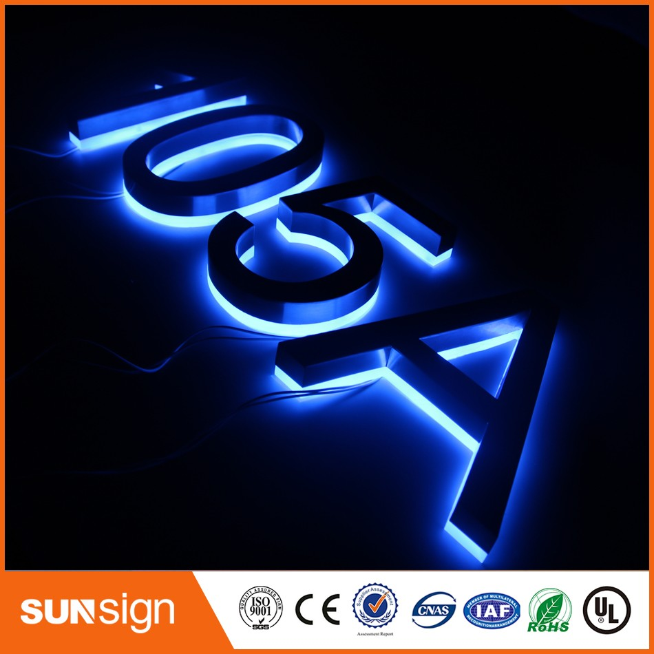 Factory Outlet 304 Stainless steel backlit led house number signsFactory Outlet 304 Stainless steel backlit led house number signs