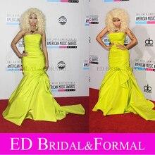 Nicki Minaj abendkleid 40. American Music Awards roten Teppich gelb taft meerjungfrau abendkleid