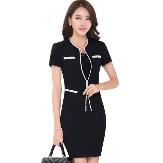 2018 New professional set women short sleeve suit skirt formal slim work wear  fashion ladies office plus size blazer with skirt 637c5614ca11