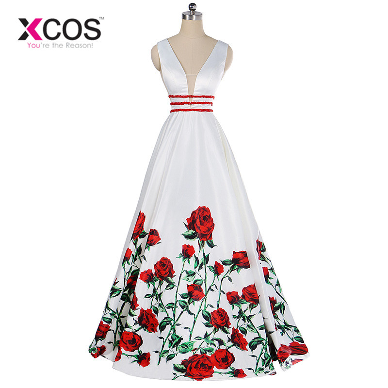 XCOS New   Prom     Dresses   2018 Red Rose Pattern Beads Sash Backless Long Party   Dress   Elegant White Evening Gowns vestidos de gala