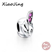 Venda quente 925 encantos de Prata Contas de coelho animal bonito com rosa orelhas de CZ Fit Pandora autêntica Pulseiras Jóias diy fazendo presentes