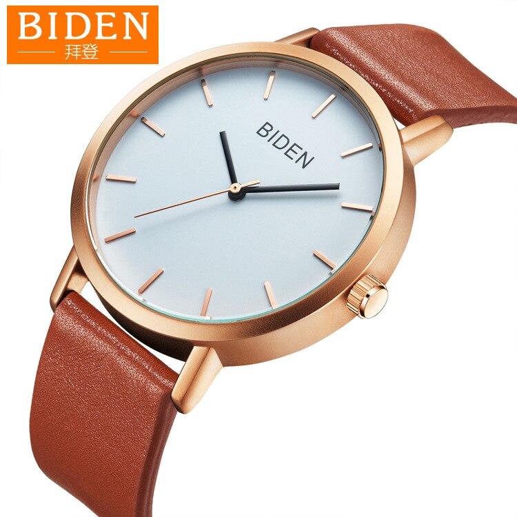 Biden Brand Women Men Watches Genuine Leather Simple Woman Man Wristwatches Quartz Waterproof Black Brown Citizen Movement
