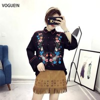 VOGUE N New Womens Floral Embroidered Long Sleeve Lapel Button Down Shirt Blouse Tops Size SML
