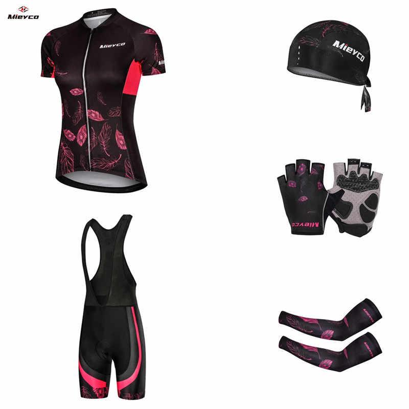 רכיבה על אופניים ג 'רזי ספורטיבי סט אישה הרי אופני 2019 קיץ רכיבה על אופניים בגדי מדים Ciclismo מגן Pad ביב מכנסיים MTB אופניים