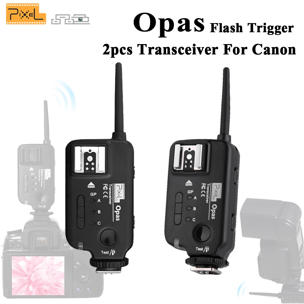 2pcs PIXEL Opas Wireless Remote Control Flash Trigger Transceiver High Speed Sync HSS FSK 2.4GHz 4 Channel for Canon Cameras ds 801 8 channel flash trigger black 2xaaa