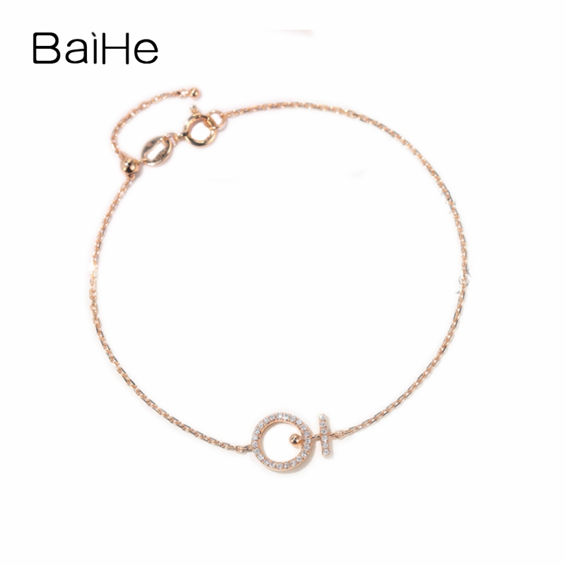 BAIHE Solid 18K Rose Gold 0.10ct Certified F G/SI 100% Genuine Natural Diamonds Engagement Women Fine Jewelry Fashion Bracelet
