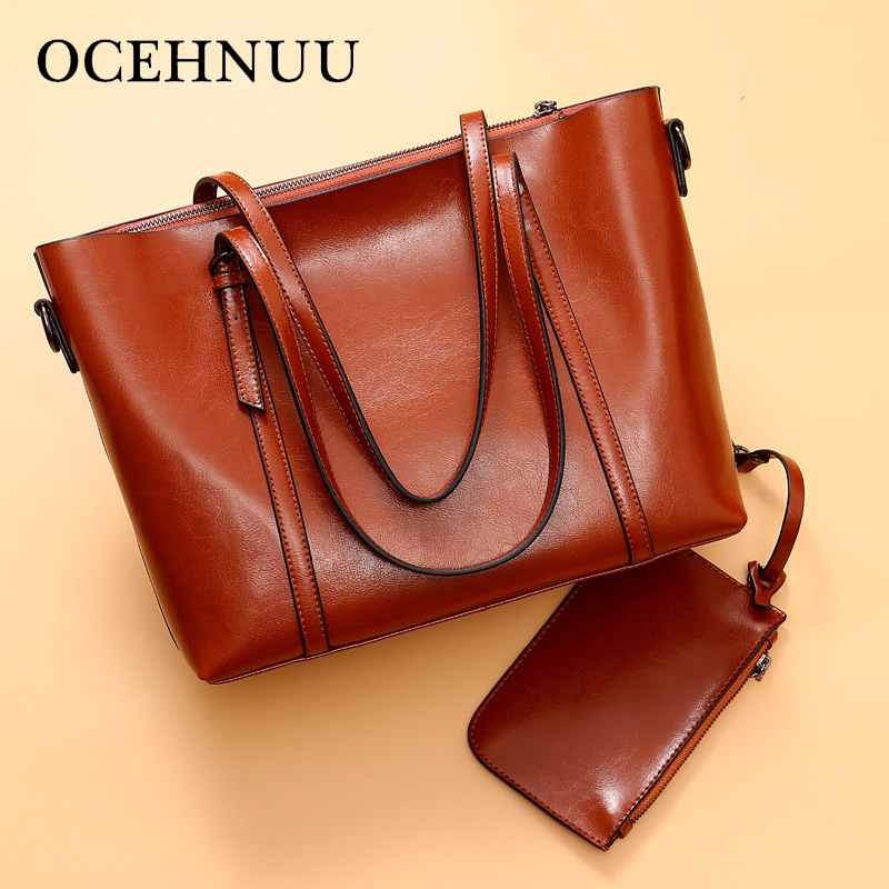OCEHNUU Big Luxury Handbags Women Bags Designer Tote Bag Set Genuine Leather Fashion Ladies Shoulder Bag Female Soft Zipper 2018 цена 2017
