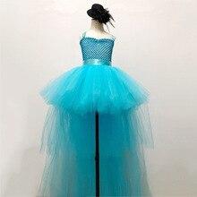 BlueSolid V-neck Rockstar Teen Summer Dresses Princess Froze Elsa Holiday Girls Birthday Party Tutu Dress with Long Tail