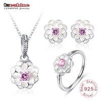 LZESHINE Genuine 100 925 Sterling Silver Jewelry Set White Flower Pink AAA CZ Jewelry Sets Women