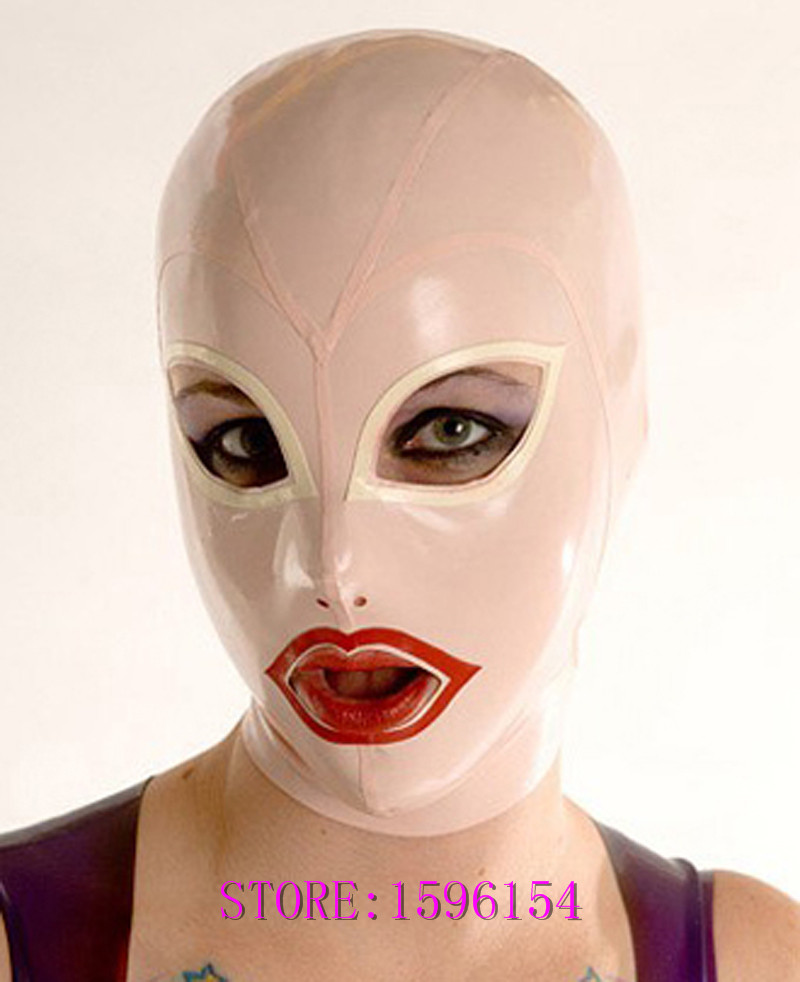 Fashion Baby Pink Latex Hood Fetish Teddies Sexy Rubber Mask for Adult Plus Size Hot Sale