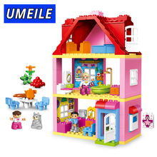 UMEILE Brand Duplo Friends Pink City Girl Princess Figure Family House Colourful Kids Building Block Baby Toys Christmas Gift