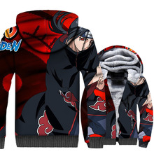 Anime Naruto Uchiha Itachi sweatshirts men 2019 winer Thick warm coats casual wool liner jackets hooded 3D Print hoodies M-5XL