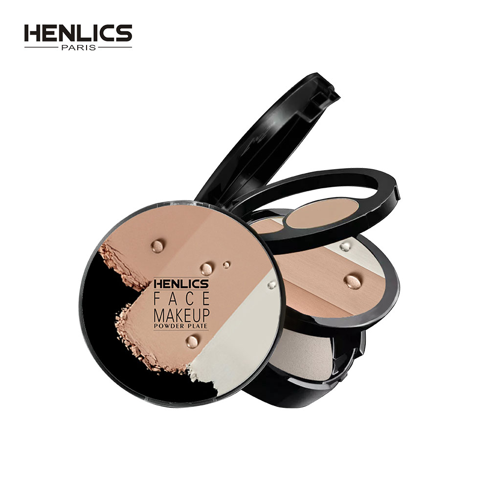 HENLICS Full Effect Foundation Makeup Powder Waterproof Whitening Shimmer And Matte 3 Colors Pressed Powder Make up Palette