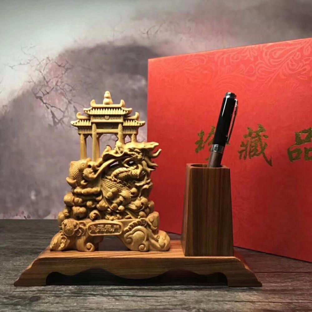 Magnifique sculpture sur bois arborvitae maison de ville chanceuse de décoration d'ameublement bureau ornements chinois.
