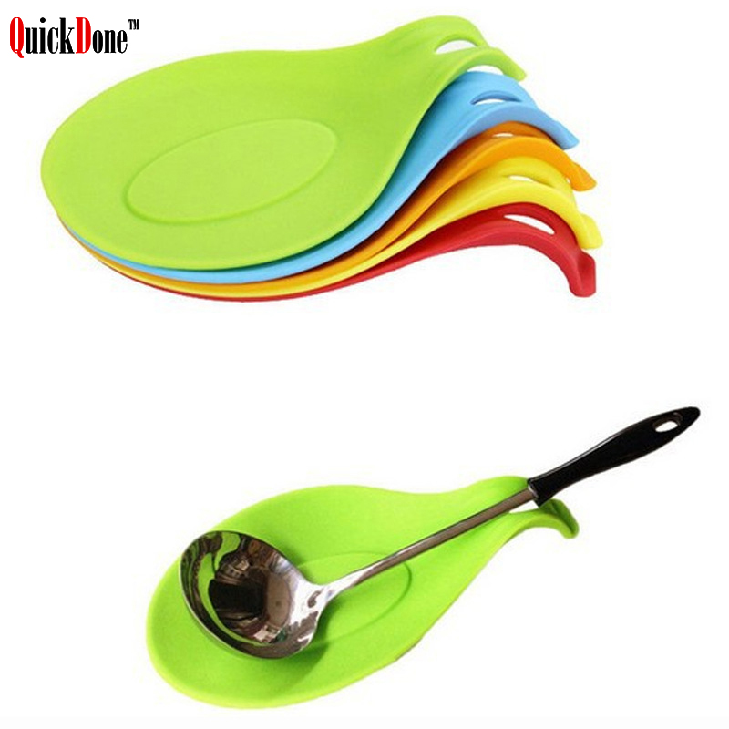 QuickDone Small Silicone Spoon Mat Durable Resistant Non-stick Glass Cup Coaster Tray Spoon Pad Kitchen Tool Accessory AKC6065