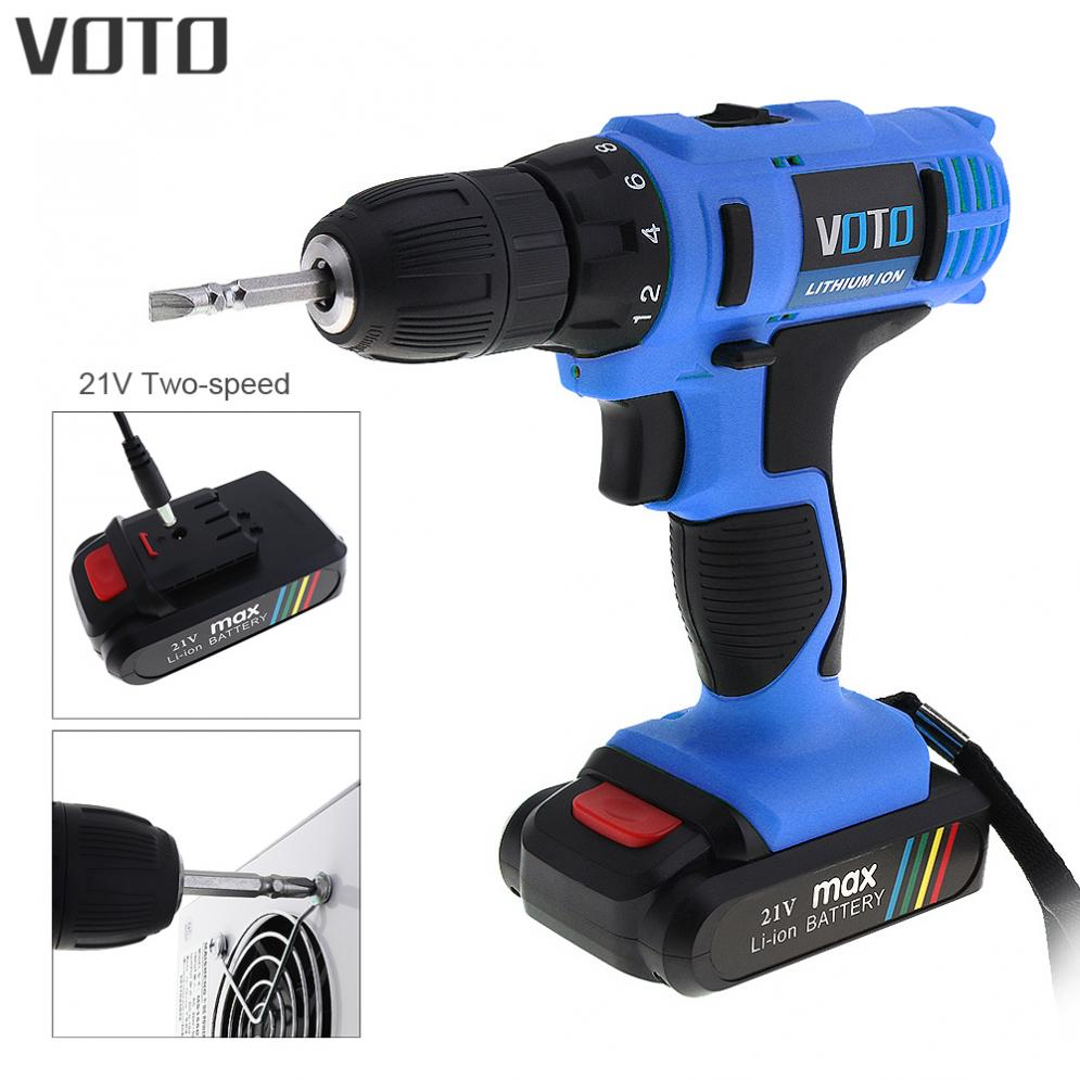 VOTO AC 100 - 240V Cordless 21V Electric Screwdriver with Lithium Battery and Two-speed Adjustment Button for Handling Screws carli mpx40 100 21