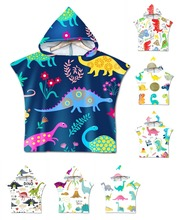 Free shipping Novelty Cartoon Dinosaurs Palm Flower Print Baby Kids Children Poncho Towel Hooded Pool Bath Beach Cape
