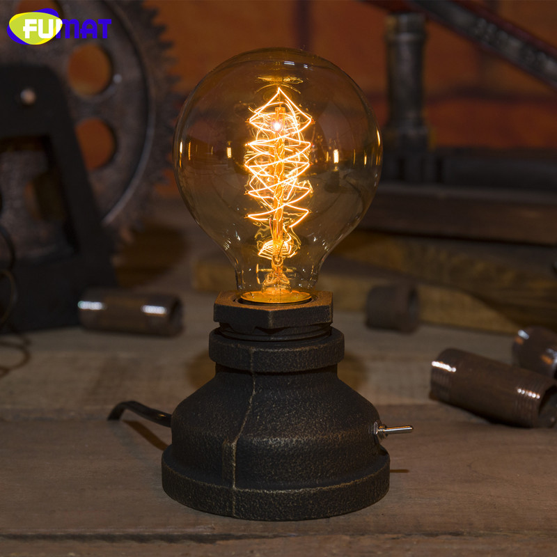 FUMAT Metal Table Lamp with E27 Edison Bulb American Country Retro Vintage Table Light Creative Industrial Table Lamp Water Pipe fumat table lamps four feet water pipe light loft vintage halogen bulb table lamp american industrial pipe desk lamps for bar