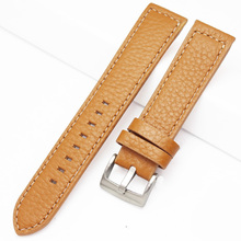 HENGRC Hand Stitching Vintage Watch Strap Men Genuine Leather 18 20 22mm Calfskin Watchbands Stainless Steel buckle Accessories