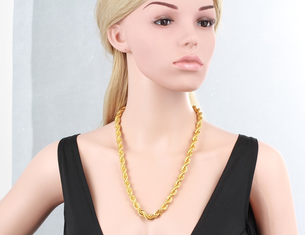 Chunky Yellow Gold Color 8mm HipHop Heavy Thick Rope Chain Long