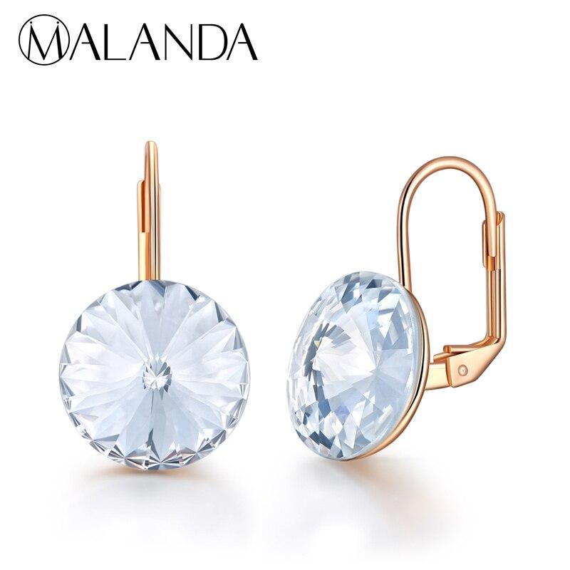 04de20574ee2 MALANDA marca redonda Bella Stud pendientes para mujer cristal de Swarovski  nuevos pendientes de moda fiesta boda elegante joyería regalo