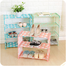 DIY Shoe Rack Storage Shelf 3/4 Layers Oxford Cloth Iron Pipe Hallway Cabinet Door Organizer Holder Flamingo Polar Bear Design цены
