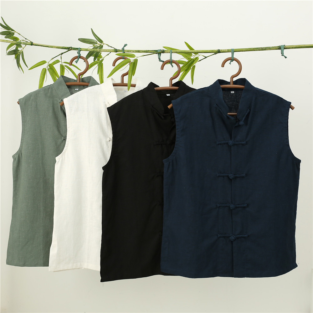 LZJN 2019 Men's Summer Waistcoat Chinese Style Vintage Breathable Linen Button Down Kung Fu Shirt Sleeveless Vest Jacket  (39)