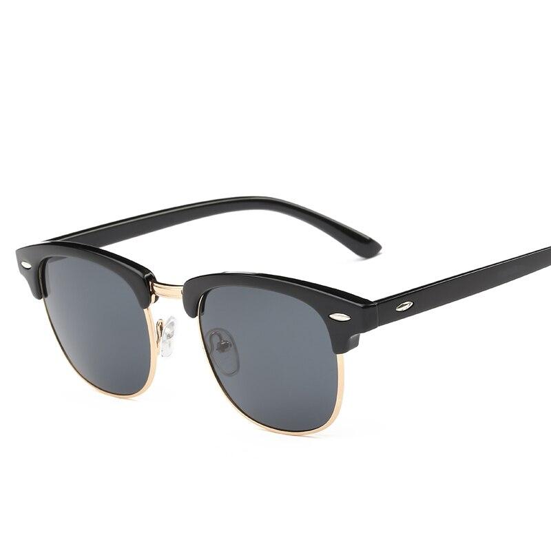 Men UV400 Sunglasses Men Women Luxury Vintage Semi-Rimless Brand Designer Fashion Mirror Shades For Female Rays Sun Glasses