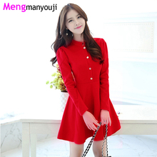 Autumn/Winter Woolen Women Dresses A Line Sliod Color Button Office Lady Slim Formal Dress Christmas Red Clothing H2670 Black