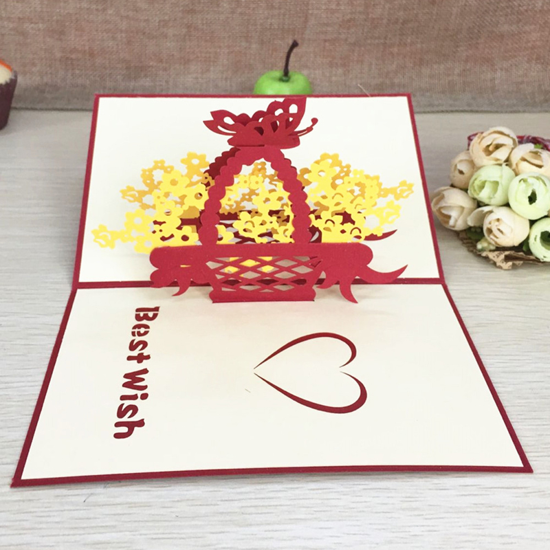 1pcs 사랑 꽃 바구니 레이저 종이 접기 종이 3D 팝업 - 휴일 파티 용품