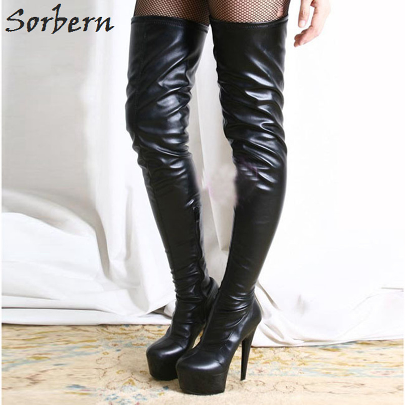 Buy Sorbern Black Boots Punk Women's Boots Matt Pu Sexy Fetish Shoes Knee Boots Thigh High Heel Pointed Designer Shoes Women