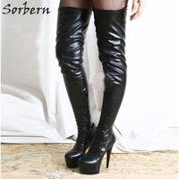 Sorbern Black Boots Punk Women's Boots Matt Pu Sexy Fetish Shoes Over Knee Boots Thigh High Heel Pointed Designer Shoes Women