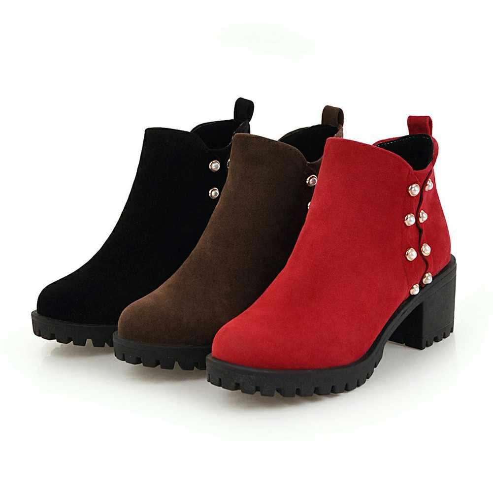 DoraTasia חדש לגמרי קלאסי נשים קרסול מגפיים בתוספת גודל 34-44 גבוהה כיכר עקבים מגפי נעלי אישה