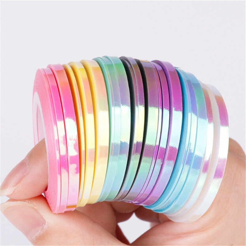 1 Mm Diy Nail Sticker Nagel Folie Striping Tape Line Mermaid Snoep Kleur Sticker Decals Nail Art Tool Manicure decoratie