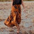 Юбки женская Лето цветочные Юбка Эластичный васит кнопку разрез Sexy хлопок макси Юбка boho chic марка saia faldas mujer 2017
