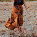 skirts womens Summer Long floral Skirt Elastic wasit button slit Sexy cotton maxi Skirt boho chic brand faldas mujer saia 2017