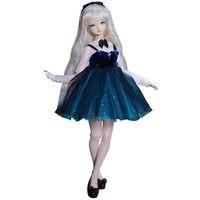 Новое поступление 45 см тело совместная кукла с серебряными длинными прямыми волосами и рубашкой платье 1/4 DIY BJD куклы игрушки подвижные BJD ку